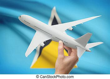 聖者, -, 手, 旗, 背景, 飛行機, lucia