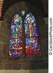 聖者, mont, ガラス, 教会, ノルマンディー, 修道院, michel., 汚された, フランス