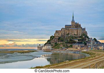 聖者, mont, 日没, michel, フランス