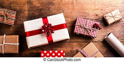 聖誕節禮物, 上, a, 桌子