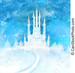 聖誕節, 冬天, 城堡, 上, the, 小山