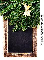 聖誕節, 冷杉 樹, 分支, 上, 葡萄酒, 黑板, 框架, 被隔离, o