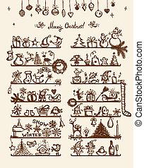 聖誕節, 商店, 略述, 圖畫, 為, 你, 設計