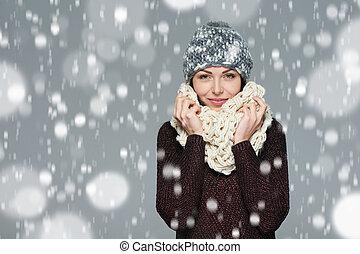 聖誕節, 女孩, 冬天, concept.
