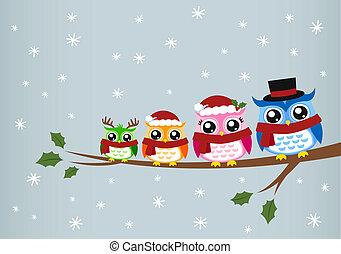 聖誕節, 家庭, 問候, 貓頭鷹