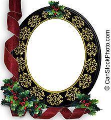 聖誕節, 帶子, 照片框架, 邊框