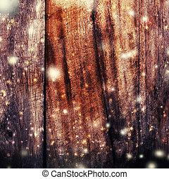 聖誕節, 木制, 背景, 由于, 落下, 雪, 以及, 模仿空間