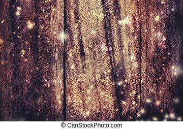 聖誕節, 木制, 背景, 由于, 落下, snow., 看法, 由于, 模仿空間