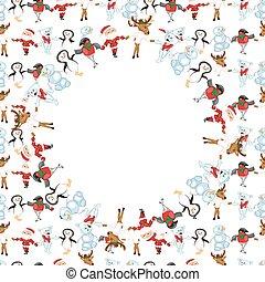 聖誕節, 框架, 輪, characte