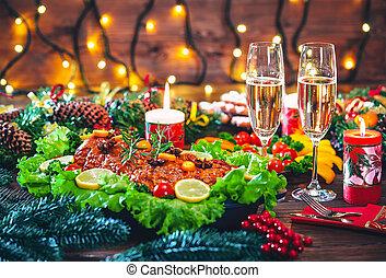 聖誕節, 桌子, 晚餐時間, 由于, 烤, 肉, 裝飾, 在, 聖誕節, 風格, 由于, 眼鏡, 香檳酒。, 背景, thanksgiving., the, 概念, ......的, a, 家庭假期, 美味, 食物。