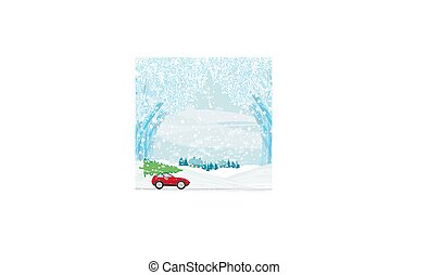 聖誕節, 汽車, 屋頂, 樹