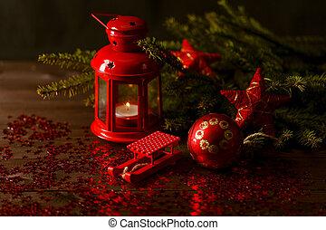聖誕節, 燈籠, 在, 夜晚, 上, 老, 木制, 背景。, 集中, 上, the, 燈芯, 蜡燭