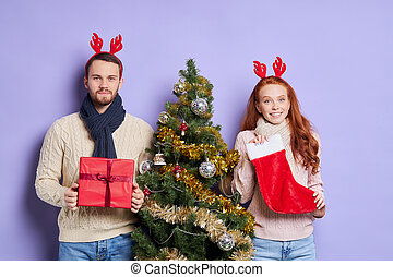 聖誕節, 甜, 長襪, 夫婦, 漂亮