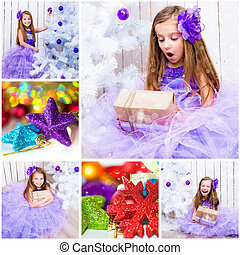 聖誕節, 相片, 由于, a, 小女孩