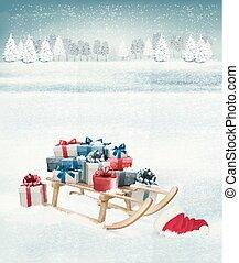 聖誕節, 背景, 由于, 提出, 上, a, sleigh., vector.