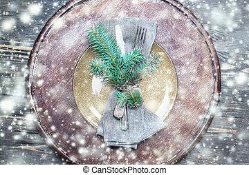 聖誕節, 落下的表, 由于, 喜慶, 裝飾, 上, 木制, 背景, 由于, 模仿, space.