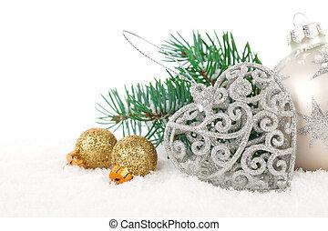 聖誕節, 裝飾, 由于, 模仿空間, 被隔离, 在上方, 白色