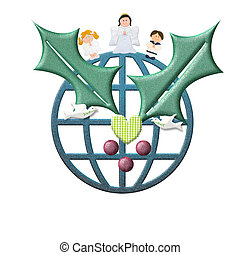 聖誕節, 賀卡, 和平, 在, 世界