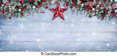 聖誕節, 邊框, -, 樅樹, 分支, 以及, 裝飾品, 上, 多雪, 板條