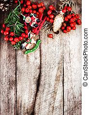 聖誕節, 邊框, 由于, 模仿空間, 上, 木制, 老, 背景。, vint