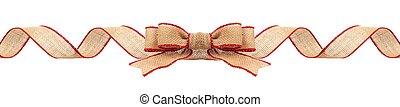 聖誕節, 邊框, 由于, 麤帆布, 帶子, 由于, 紅色, 修剪, 被隔离