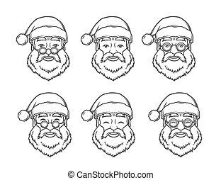 聖誕節, 集合, illustration., elements., 葡萄酒, 克勞斯, glasses., 臉, t恤衫, mask., 設計, 聖誕老人, 年, 新, 微笑, 聖誕節, 輪, 愉快