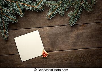 聖誕節, decoration., 空白, 紙卷, 為, 正文, 在之間, 樅樹, 末梢, 上, 黑暗