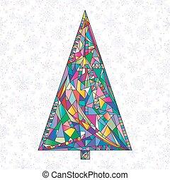 聖誕節, illustration., 鮮艷, 畫, 樹, 摘要, 現代, 樅樹, 手, 被風格化, 背景。, 矢量, 年, 新, 假期, style., 冬天