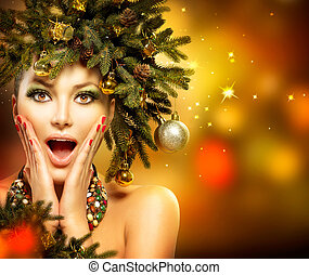 聖誕節, woman., 圣誕節假期, 發型, 以及, 构成