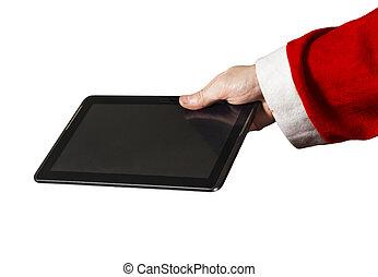 聖誕老人的, 手, 由于, a, 小塊pc, 上, a, 白色 背景