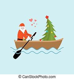 聖誕老人, 以及, 圣誕樹, 上, 小船, ride., 聖誕節, 騎馬, 上, ondola, 上, lake., 老人, 在, 紅的衣服, 以及, fur-tree, 新年, date.