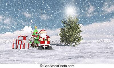 聖誕老人, 在, a, 聖誕節, 冬天場景