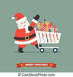 聖誕老人, 推, a, 購物車, 由于, 堆, ......的, 提出