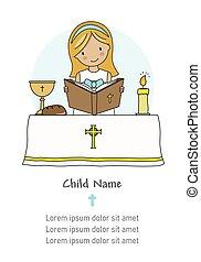 聖餐, card., 女の子の読書, 聖書