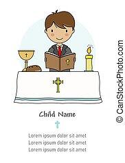 聖餐, card., 読書, 聖書, 男の子