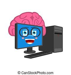 聡明である, コンピュータ, 脳, isolated., 脳, プロセッサ, pc, ベクトル, 漫画, データ, style., 痛みなさい