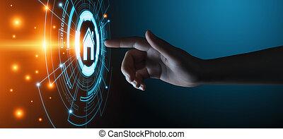聪明, 家庭自动化, 控制, system., 革新, 技术, 因特网, 网络, 概念