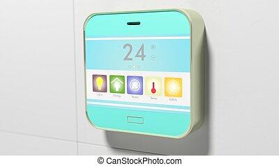 聪明, 家, 控制, 设备, 显示, closeup, 在上, wall.