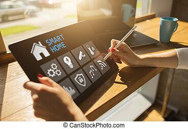 聪明, 家, 概念, 控制面板, 软件, 在上, 设备, screen.
