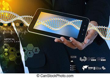 聪明, 手, 显示, 牌子个人电脑, 带, dna, 接口