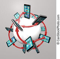 聪明, 电话, 同时,, apps, 全球的通信, 网络