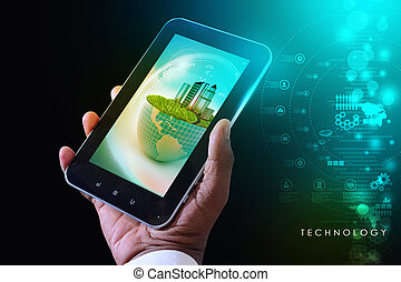 聪明, 电话, 显示, 生态, 概念