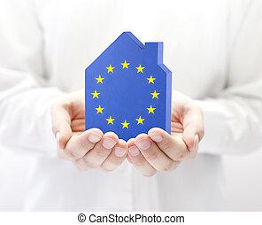 聯合, 房子, 旗, 歐洲, 手