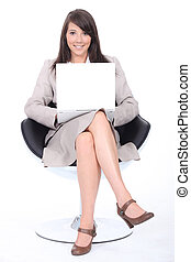 聰明, 年輕婦女, 坐, 在, a, 轉椅, 由于, a, 便攜式電腦