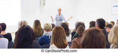 聴衆, 中に, ∥, 講義, hall.