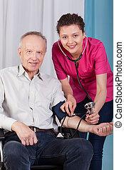 聴診器, 不具, 検査する, 看護婦