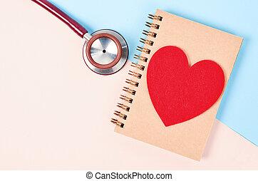 聴診器, 医学, heart., 赤