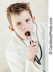 聴診器, 彼の, 口, 子を抱く