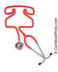 聴診器, 電話, シルエット