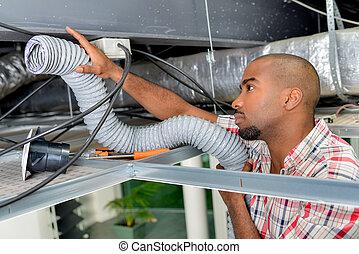 職人, インストール, 空気 コンディショナー, システム